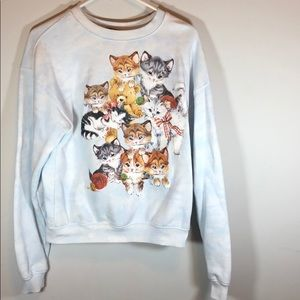 Sweaters - Forever 21 Cat Grandma Sweater Light Blue